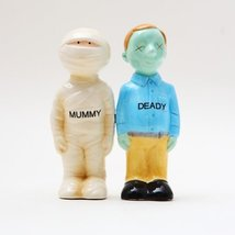 Mummy Deady Ceramic Magnetic Salt and Pepper Shakers Collection Set - $12.92