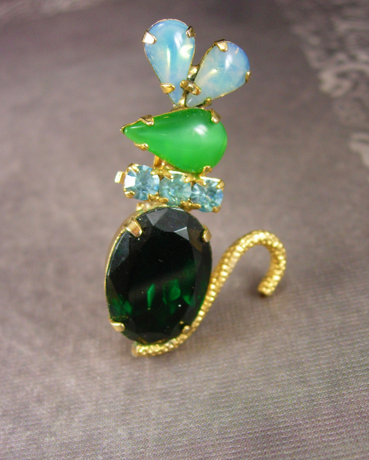 Primary image for Whimsical MOUSE Brooch Jelly belly Vintage Rhinestone Mice Jeweled green Figural