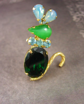 Whimsical MOUSE Brooch Jelly belly Vintage Rhinestone Mice Jeweled green... - $53.18 CAD