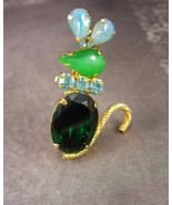 Whimsical MOUSE Brooch Jelly belly Vintage Rhinestone Mice Jeweled green... - $40.00