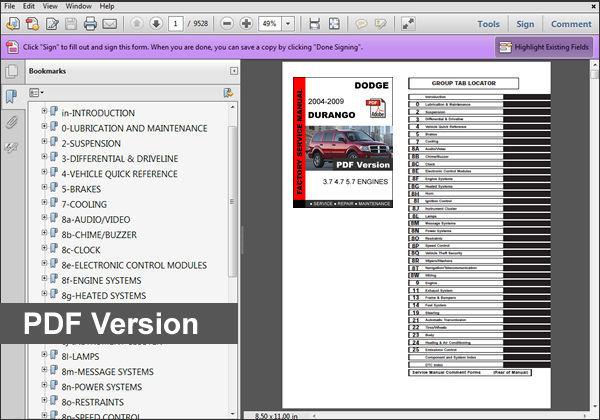 2004 2005 2006 2007 2008 2009 Dodge Durango Service Fsm Manual   Wiring Diagram