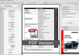 2005 2006 2007 2008 2009 Subaru Legacy Oem Service Repair Workshop Fsm Manual - $14.95