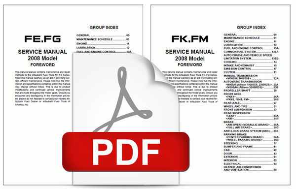 MITSUBISHI 2008 FUSO FE FG FK FM SERIES OEM TRUCK SERVICE REPAIR WORKSHOP MANUAL