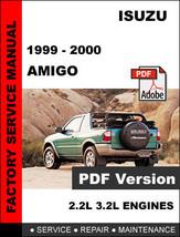 Isuzu Amigo 1999   2000 Factory Oem Service Repair Workshop Shop Fsm Manual - $14.95