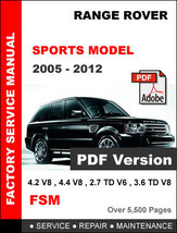 LAND ROVER RANGE ROVER SPORT 2005 - 2012 FACTORY SERVICE REPAIR WORKSHOP... - $14.95
