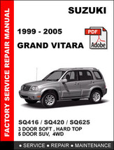 Suzuki Grand Vitara 1999   2005 Sq416 Sq420 Sq625 Factory Repair Workshop Manual - $14.95