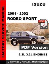 Isuzu Rodeo Sport 2001   2002 Factory Service Repair Fsm Manual + Wiring Diagram - $14.95