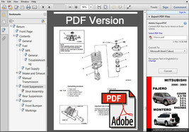 2000 2001 2002 2003 Mitsubishi Pajero Montero Ultimate Oem Service Repair Manual - $14.95