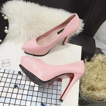 pp004 sexy snake skin 13 cm heels, pump, size 36-38, pink - $48.80
