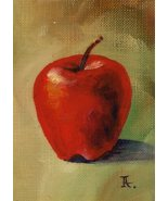 Akimova: APPLE, food,fruit,still life,ACEO - $5.99