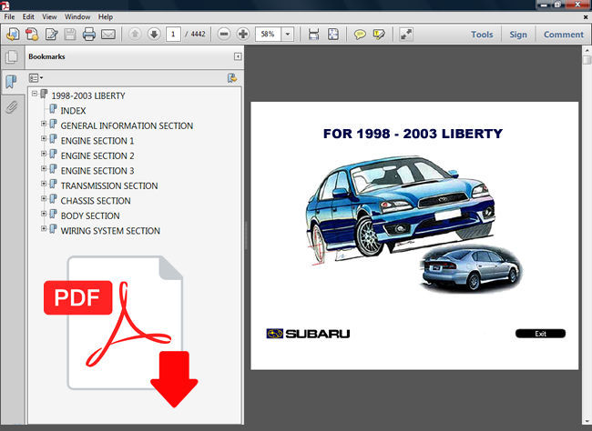 Subaru Liberty 1998 - 2003 Factory Service Repair Fsm Manual   Wiring Diagram
