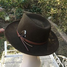 Vtg Dorfman Pacific Brown Wool Outback Hat Fedora Leather band Feather USA image 5