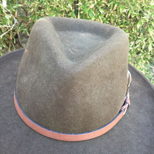 Vtg Dorfman Pacific Brown Wool Outback Hat Fedora Leather band Feather USA image 9