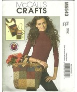 McCall's Sewing Pattern 5543 Tote Bag Purse Accessories Crafts New Uncut - $9.98
