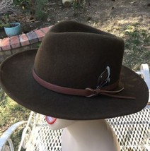 Vtg Dorfman Pacific Brown Wool Outback Hat Fedora Leather band Feather USA image 3