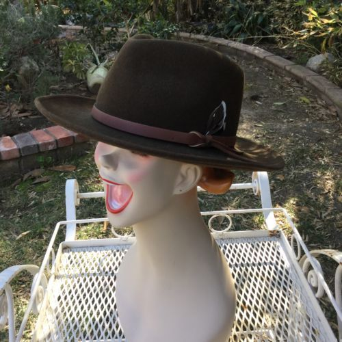 Vtg Dorfman Pacific Brown Wool Outback Hat Fedora Leather band Feather USA image 4