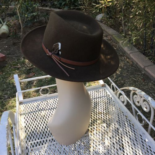 Vtg Dorfman Pacific Brown Wool Outback Hat Fedora Leather band Feather USA image 6