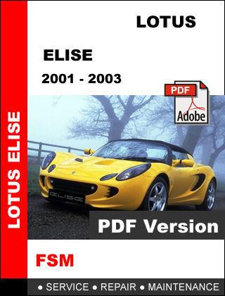 LOTUS ELISE 2001 - 2003 ULTIMATE FACTORY OEM SERVICE REPAIR WORKSHOP FSM MANUAL