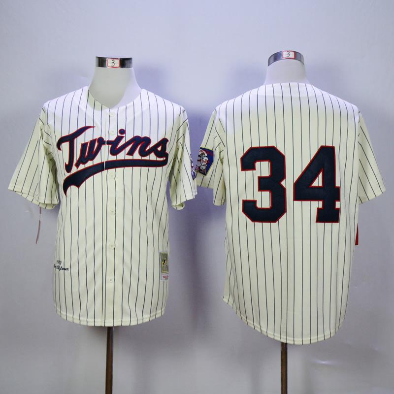 Number 34 Kirby Puckett Jerseys Minnesota Twins cream pinstripe t shirts, used for sale  USA