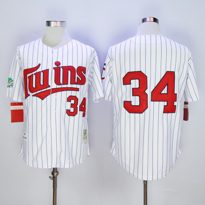 Number 34 Kirby Puckett Jerseys Minnesota Twins white pinstripe t shirts for sale  USA