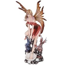 Autumn Fairy with Wings and Baby Dragons Mystical Statue Figurine - £27.00 GBP