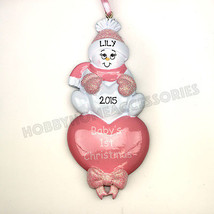Baby's First Christmas Pink Heart Personalized Christmas Tree Ornament New - $10.84
