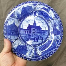 Antique Old Flow Blue Plate English Staffordshire Historical Philadelphi... - $24.50