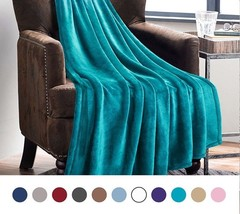 Luxury Peacock Blue Throw Lightweight Cozy Plush Microfiber Solid Warm B... - €21,46 EUR