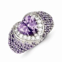 VERY UNIQUE STERLING SILVER PURPLE AND CLEAR CZ HEART  RING  - SIZE 7 - £38.16 GBP