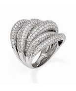 UNIQUE MODERN DESIGN STERLING SILVER WITH CZ CONTEMPORARY RING -SIZE 7 - €163,02 EUR