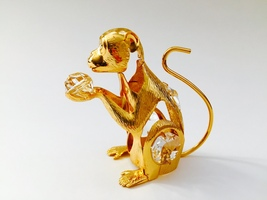 "SWAROVSKI CRYSTAL ELEMENTS ""Monkey"" FIGURINE - ORNAMENT 24KT GOLD PLATED - $8.95"