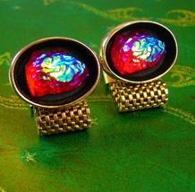 Hauntingly Beautiful Lava Glass Cufflinks Vintage red  Wedding Yellow glowing fi - $155.00