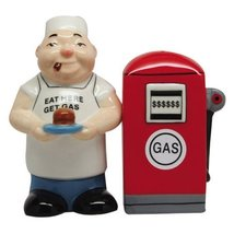 ATTRACTIVES SALT AND PEPPER SHAKER - EAT HERE GET GAS - $12.86