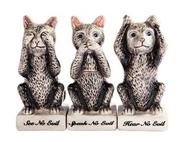 Grey Kitties Cats See Hear Speak no Evil Ceramic Salt Pepper Shakers And... - $17.81