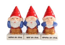 Cute Gnomes See Hear Speak no Evil Ceramic Salt Pepper Shakers And Tooth... - $15.54