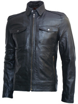 Golden Zipper Black Leather Jacket for Men | LJM - $199.99