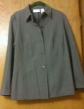 Liz Claiborne LizSport Gray Button Down Suit Shirt Jacket - Size 8 - $13.85