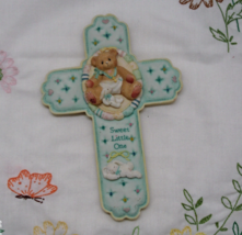 Vintage Enesco CHERISHED TEDDIES Baby Nursery Cross Religious Wall Hanging - $7.00
