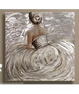"""32.5"""" Sitting Woman in Gown Oil Painting on Stretched Canvas with Foil A... - $138.59"""