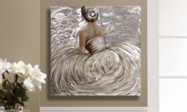 """32.5"""" Sitting Woman in a Gown Oil Painting on Stretched Canvas with Foil Accent image 2"""