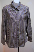 Charter Club 14 L Shirt Gray Green White Striped Long Sleeve Top Large Career - $19.58
