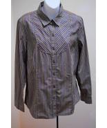 Charter Club 14 L Shirt Gray Green White Striped Long Sleeve Top Large C... - $19.58