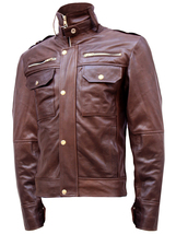 Chocolate Brown Leather Jacket Men | LJM - $199.99