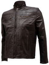 Moto Racer Men Brown Fitted Leather Jacket | LJM - $199.99