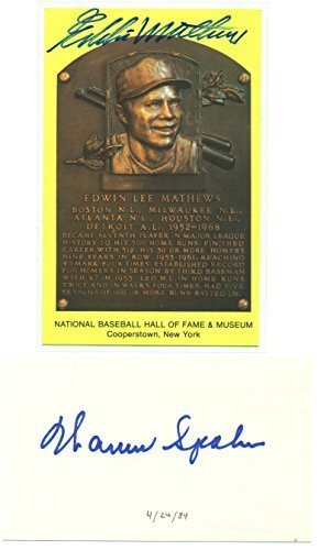 Eddie Mathews HOF Plaque and Warren Spahn Index Card Autographed - Signed - Milw