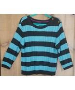 Tommy Hilfiger Women's Sweater 100% Cotton Blue Stripe Button Shoulder S... - $18.39