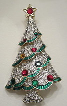 NEW MULTI TIERED RHINESTONE CHRISTMAS TREE BROOCH PIN   - $29.99