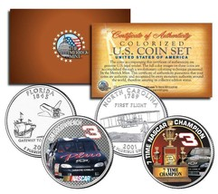 "DALE EARNHARDT ""7X WINSTON CUP CHAMPION"" FLORIDA & NC STATE QUARTER 2 CO... - $14.99"