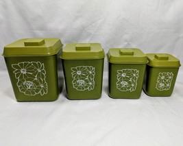 Vintage Kitchen Canisters Avacado Green Plastic Flower Power Retro 70's - $28.04