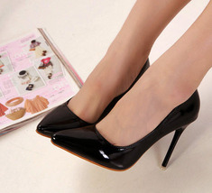 pp006 sexy pointed pumps, 11 cm heels size 35-39, black - $48.80